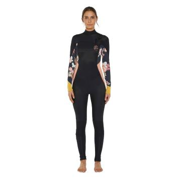O'Neill 2020 Women's Bahia Chest Zip 4/3mm Fuze Steamer Wetsuit - Cactus/Blk/Gold