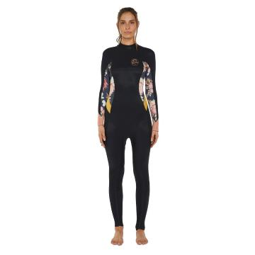 O'Neill 2020 Women's Bahia Back Zip 4/3mm Steamer Wetsuit - Cactus/Blk/Gold