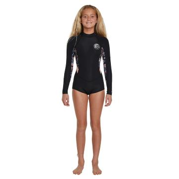 O'Neill Girls Bahia Long Sleeve Springsuit Wetsuit 2mm - Blk/Blkfloral/Pec