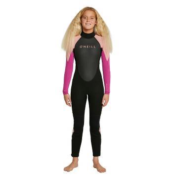 O'Neill Girls Reactor II Back Zip Full 3/2mm Wetsuit - Black/Magenta Haze/Burnt Coal