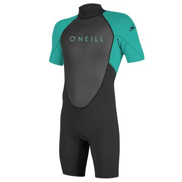 O'Neill Youth Reactor II 2MM Short Sleeve Spring - Blk/Lt Aqua