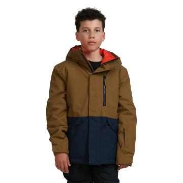 Quiksilver 2021 Boys Mission Solid Snow Jacket - Military Olive