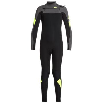 Quiksilver Boys 4/3 Syncro Chest Zip Wetsuit - Black/Jet Black/Safety Yellow