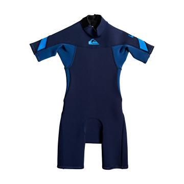 Quiksilver Toddler 2/2 Syncro Back Zip Short Sleeve Springsuit - Dark Navy/Iodine Blue