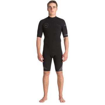 Quiksilver Men's 2/2mm Syncro BZ Short Sleeve Spring Suit - Black/ Black/ Jet Black