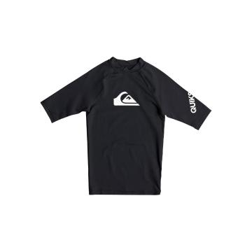 Quiksilver Boys All Time Short Sleeve Rash Top - Black
