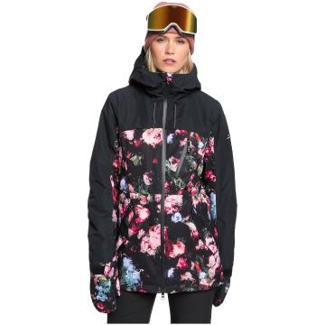 Roxy 2021 Women's Stated Parka Jacket - True Black Blooming Party