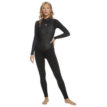 Roxy 2021 Women's 4/3 Performance Chest Zip Wetsuit - Black/Rose Gold