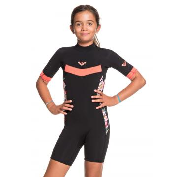 Roxy 2021 Girls 2/2 Syncro Back Zip Short Sleeve - Black/Coral