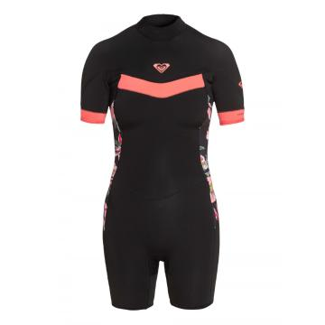 Roxy 2021 Women's 2/2 Syncro Back Zip Short Sleeve - Black/Coral
