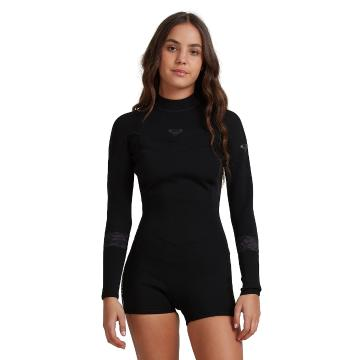 Roxy 2021 Women's 2/2 Syncro Back Zip Long Sleeve - Jet Black - Jet Black