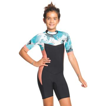 Roxy 2/2 Syncro Short Sleeve Back Zip Spring Suit - Black/Pale Coral/Butter
