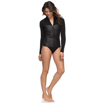 Roxy 2mm Satin - Front Zip Wetsuit Top - Black