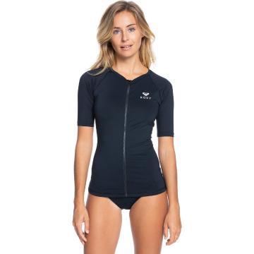 Roxy 2021 Women's Essentials Short Sleeve Zipped Rash Vest - Black