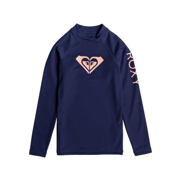Roxy Girl's Heater Long Sleeve Lycra Rash Vest - Medieval Blue