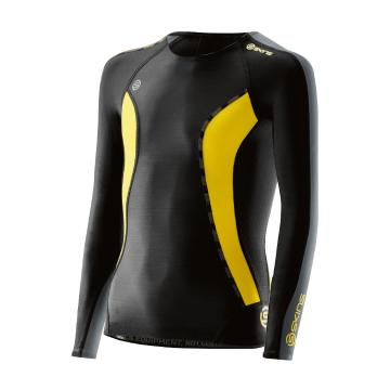Skins Youth DNAmic Long Sleeve Top - Black/Citron