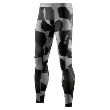 Skins Men's Core Long Tights - Small Camo Charcoal