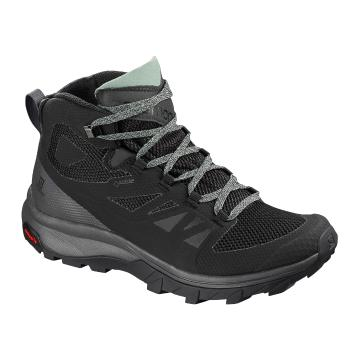 Salomon Women's Outline Mid Gtx W - Black/Magnet/Green Milu