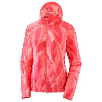 Salomon Women's Agile Wind Print Hoodie - Desert Flower/Dubarry