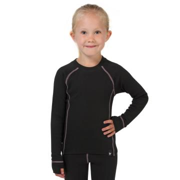 Torpedo7 Kid's Polypro Long Sleeve Thermal Top - Black/Pink/Charcoal