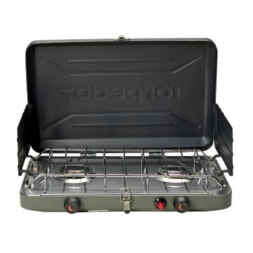 Torpedo7 Twin Burner LPG Stove (Stainless Drip Tray) - Black