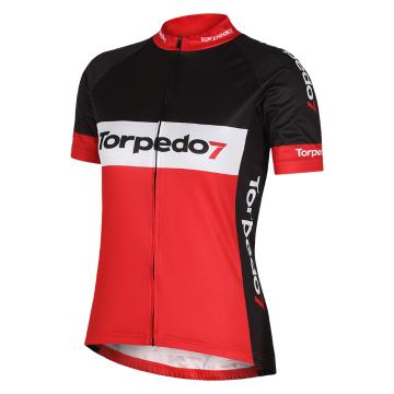 Torpedo7 Woman's Road Short Sleeve Jersey - Black/Red/White