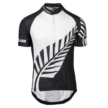 Torpedo7 Men's NZ Koru Road Short Sleeve Jersey - Black/White words