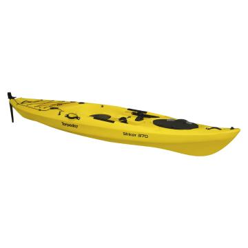 Torpedo7 Striker 370 Single Fishing Kayak with Rudder Kit V2 - Yellow