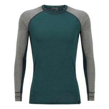 Torpedo7 Men's Merino Summit Long Sleeve Tee - V2 - Dark Teal/Grey Marle