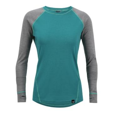 Torpedo7 Women's Merino Brighton Long Sleeve Tee - V2 - Teal/Grey Marle