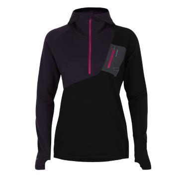 Torpedo7 Women's Merino Eco Long Sleeve 1/2 Zip Hoodie - V2 - Dark Currant/Black