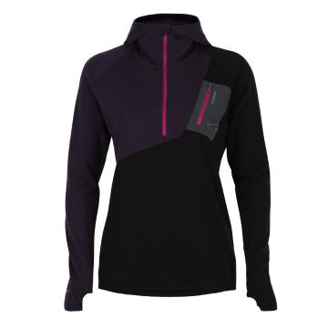 Torpedo7 Women's Merino Eco Long Sleeve 1/2 Zip Hoodie - V2 - Dark Currant/Black