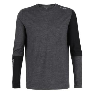 Torpedo7 Men's Glide Long Sleeve Tee - Grey Marle/Black