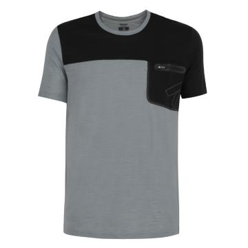 Torpedo7 Merino Men's Newland S/S Tee - Light Grey Marle/Black