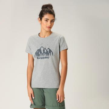 Torpedo7 Women's Graphic Tee - Grey Marle