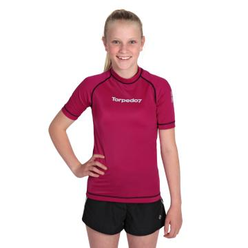 Torpedo7 Girl's Mystic Short Sleeve Rash Shirt - 8/16 Years - Fuschia