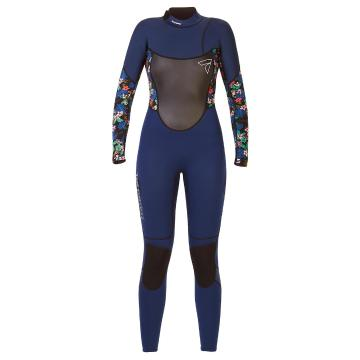 Torpedo7 Women's Evo 3.2 Long Sleeve Steamer Wetsuit - Navy/Floral