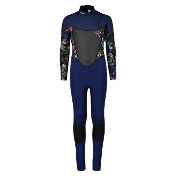 Torpedo7 Youth Girls Evo 3.2 Long Sleeve Steamer Wetsuit - Navy/Floral