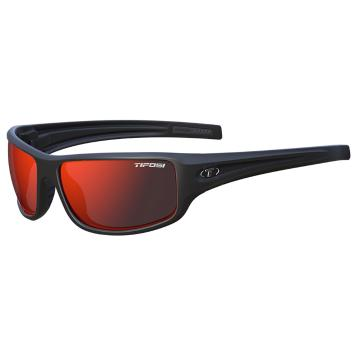Tifosi Bronx Sunglasses - Matte Black, Clarion Red Polarized Lens