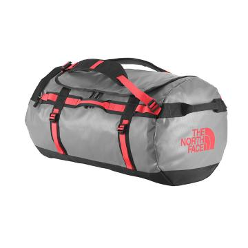 The North Face Base Camp Duffel Gear Bag - 95L Large - Zinc Grey/Tropical Coral