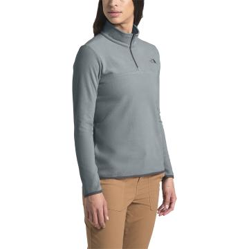 The North Face Women's TKA Glacier 1/4 Zip Pullover - Mid Grey/Mid Grey