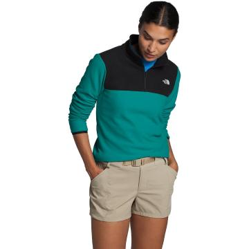 The North Face Women's TKA Glacier ¼ Zip - Jaiden Green/TNF Black