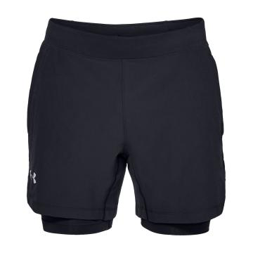 Under Armour Mens Speedpockt Qualifier 2n1Short - Blk/Blk/Reflect
