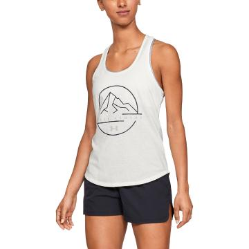 Under Armour Women's Outdoor Logo Graphic Tank - Onyx White/Mod Gray