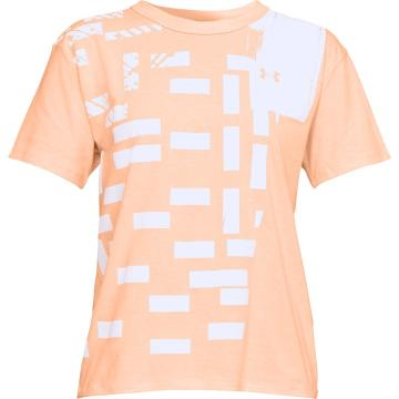 Under Armour Women's Patchwork GF Crew - PeachLitHther/Wht