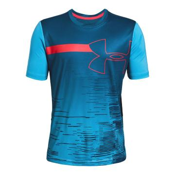 Under Armour Boys Beat the Heat UPF 50 Short Sleeve - Ether Blue/Red Rage