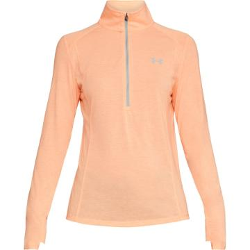 Under Armour Women's Threadborne Train Twist 1/2 Zip - Peach Hori/Ghst Gry