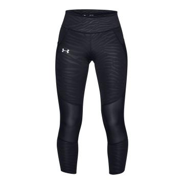 Under Armour Women's Speedpockt Printed Run Crops - Blk/Blk/Reflect