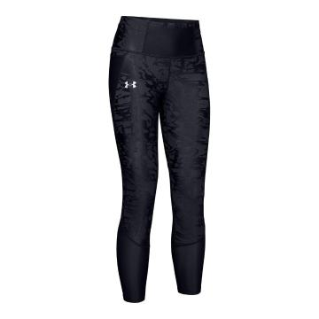 Under Armour Women's Qualifier Speedpocket Smudged Crop - Blk/Blk/Reflect