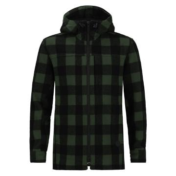 Swanndri Men's Hudson Wool Hoodie - Olive/Black Check